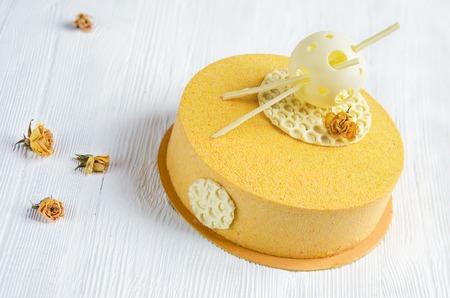 honey cake: Honey cake mousse with a chocolate velvet Stock Photo