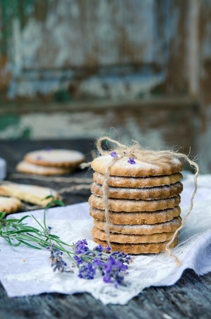 sable: Shortbread Sable with lavender on a wooden background