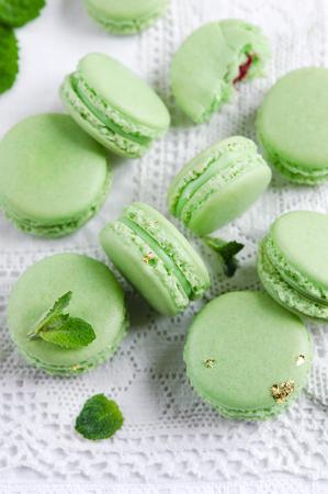 ganache: Green macaron with fresh mint ganache and white chocolate