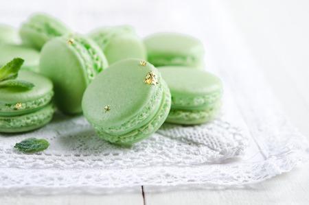 Green macaron with fresh mint ganache and white chocolate