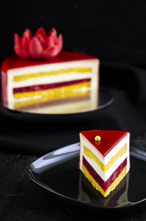 ganache: Strawberry mousse cake by strawberry mirror glaze with lemon cream Stock Photo