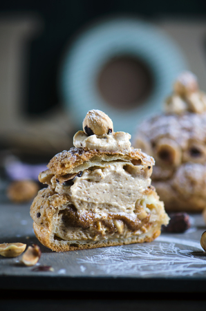 Choux Paris-Brest choux pastry with cream muslin and hazelnuts