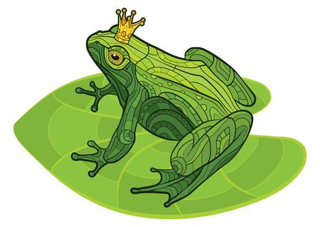 rana principe: Rana aislado decorativo con la corona en la hoja. Ilustración vectorial