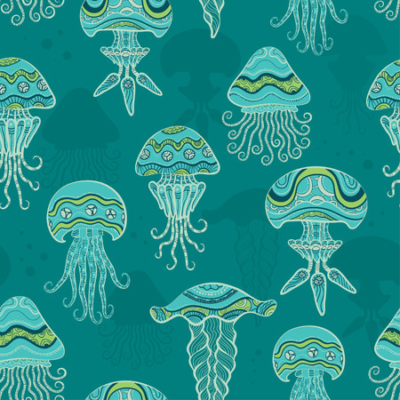 jelly fish: Decorative jellyfish in sea. Seamless pattern Illustration