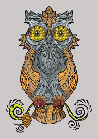 lump: Decorative isolated owl on the branch. Vector illustration