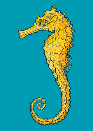 Decorative isolated seahorse. Vector illustration