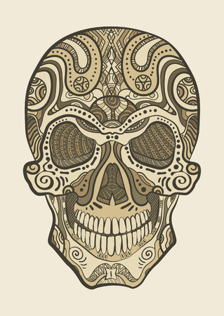Decorative isolated human skull. Vector illustration Vector