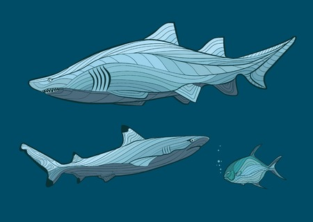 oceanic: Decorative sharks in the sea with fish Illustration