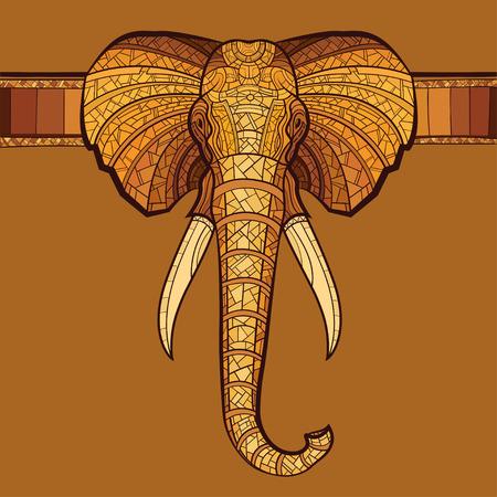 La cabeza del elefante con el ornamento étnico. Ilustración vectorial