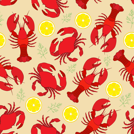 fish drawing: Lobster and crab with lemon and dill. Seamless pattern Illustration