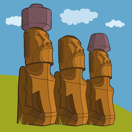 rapa nui: Esculturas de la isla de Pascua Rapa Nui. Ilustración vectorial Vectores