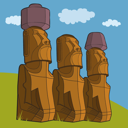 Sculptures of Easter island Rapa Nui. Vector Illustration