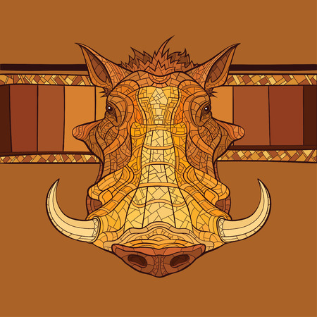 Decorative warthog head with african ornament. Vector illustration Illustration