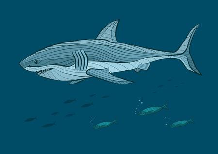 white shark: Decorative big white shark in the sea with fish. Vector illustration Illustration