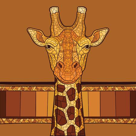 jirafa: Cabeza de jirafa decorativo con el ornamento �tnico. Ilustraci�n vectorial Vectores