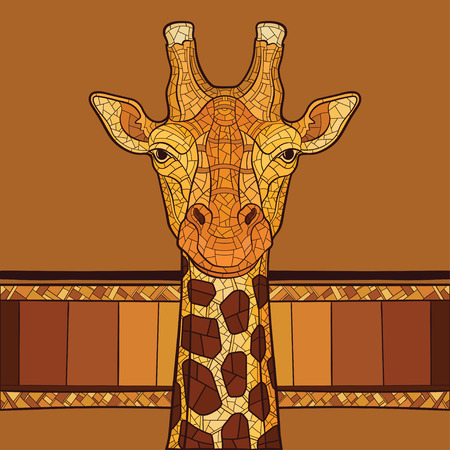 Decorative giraffe head with ethnic ornament. Vector illustration Çizim