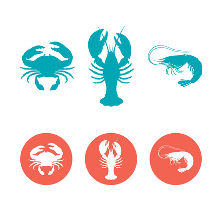 lobster: Set of the seafood flat icons. Crab, lobster and shrimp vector silhouettes