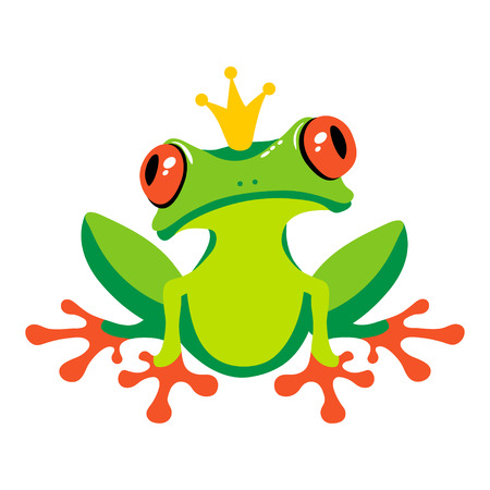 Cartoon isolated frog with crown. Vector illustration