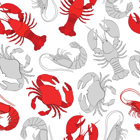 Lobster, crab and prawn. Seamless vector pattern