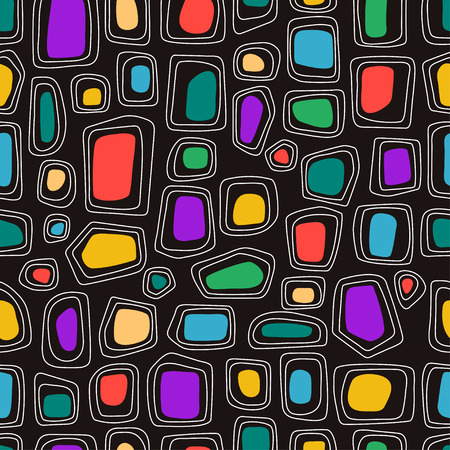 Abstract vector shapes on the black background. Seamless pattern Ilustrace
