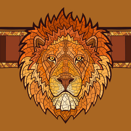 Lion head with ethnic ornament. Vector illustrationd
