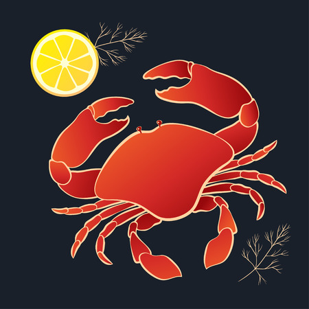 Crab with lemon and dill on the black background. Vector illustration