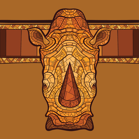 Rhinoceros head with ethnic ornament. Vector illustration. No gradients