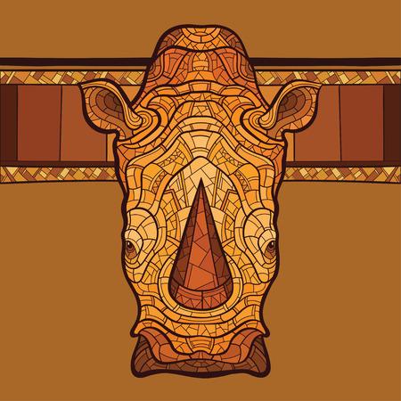 nashorn: Rhinoceros Kopf mit ethnischen Ornament. Vektor-Illustration. Keine Steigungen