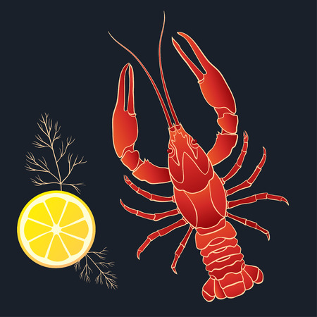Crayfish with lemon and dill on the black background. Vector illustration Imagens - 38860251