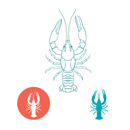 Crayfish silhouette and flat icon. Vector illustration