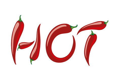 assembled: Word HOT assembled from red peppers. Vector illustration
