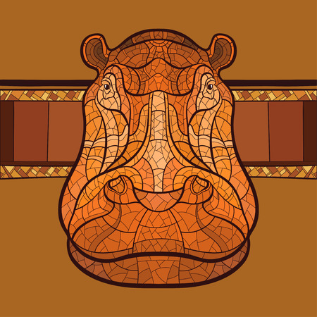 Hippo head with ethnic ornament. Vector illustration. No gradients