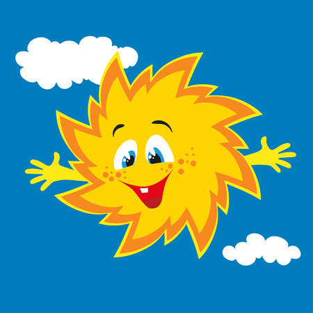 Vector happy cartoon sun smiling in the sky