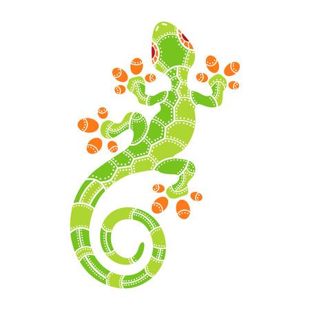 lagartija: Decorativo lagarto aislado en el fondo blanco. Ilustración vectorial