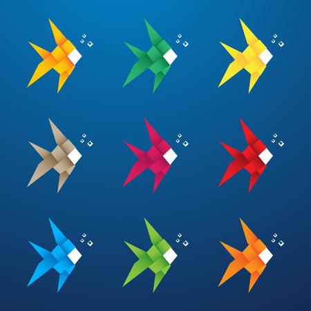 Multicolored origami fish with bubbles. Vector illustration Çizim