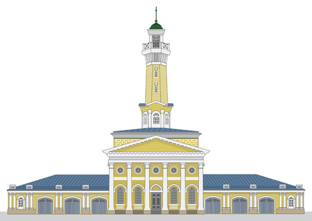 Fire watch old tower in Kostroma city. Vector illustration