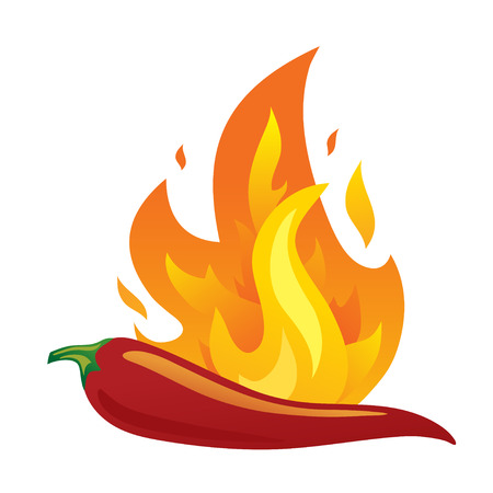 Isolated red hot chilli pepper with fire. Vector illustration  イラスト・ベクター素材