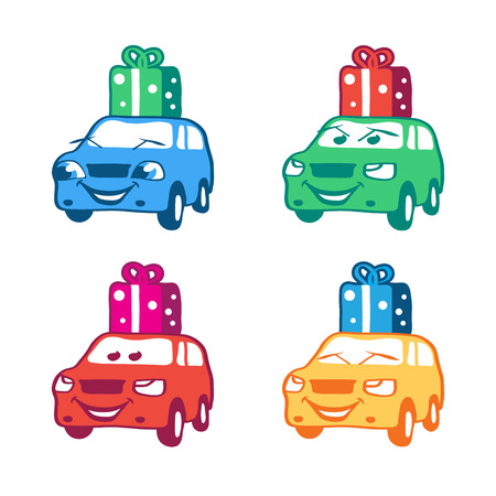Collection of colored cartoon car with present box. Vector illustration