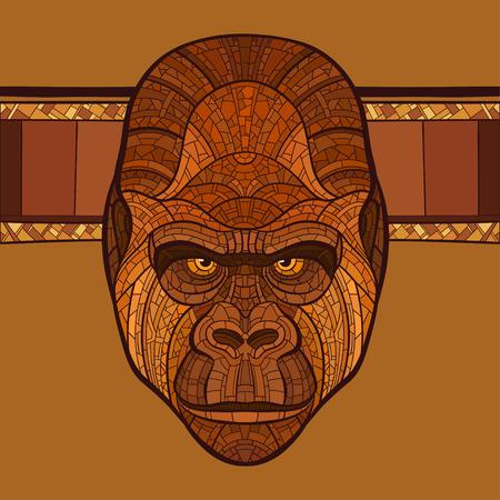 Ape gorilla head with ethnic ornament. Vector illustration. No gradients