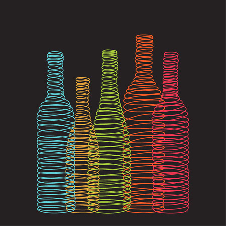 Isolated abstract spiral wine bottles on the black background. Vector illustration Çizim