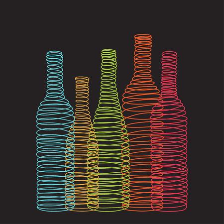 sommelier: Isolated abstract spiral wine bottles on the black background. Vector illustration Illustration