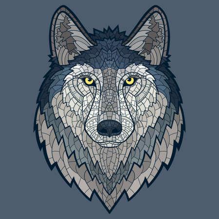 lobo: Aislado lobo mascota cabeza mosaico.