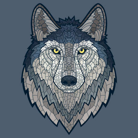 wolf: Wolf head mascot mosaic isolated.