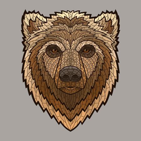 grizzly: Bear Head dans le style mosaïque. Décoratif isolé illustration vectorielle. Pas de gradients
