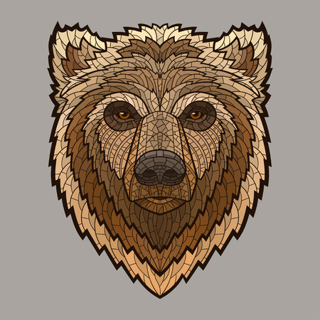 mascots: Bear head in mosaic style. Decorative isolated vector illustration. No gradients