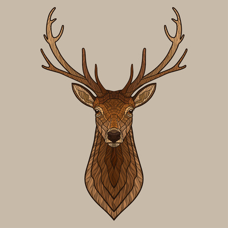 antlers silhouette: Deer head. Decorative isolated vector illustration. No gradients