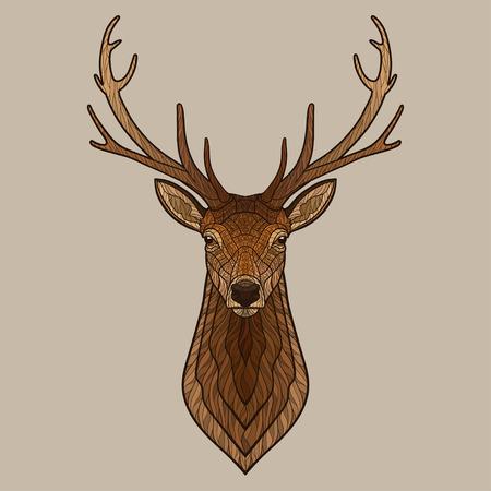 animal head: Deer head. Decorative isolated vector illustration. No gradients