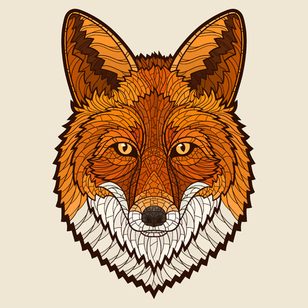 fox: Fox head. Decorative isolated vector illustration. No gradients