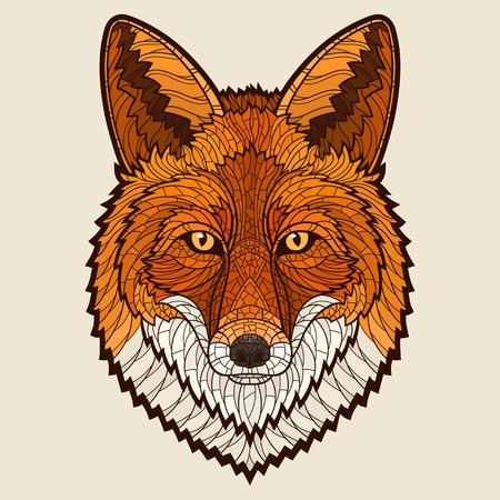 Tête Fox. Décoratif isolé illustration vectorielle. Pas de gradients Banque d'images - 40918529