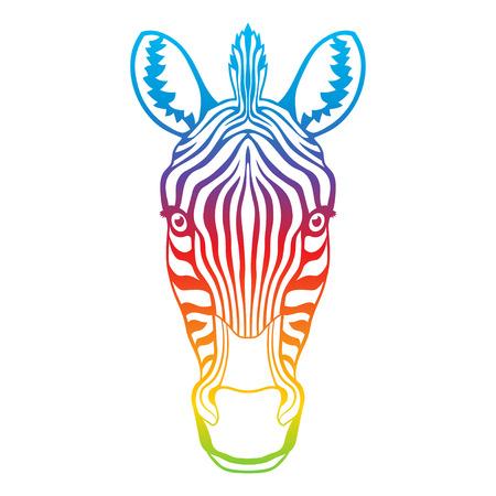 zebra head: Zebra rainbow head. Multicolored isolated vector illustration Illustration